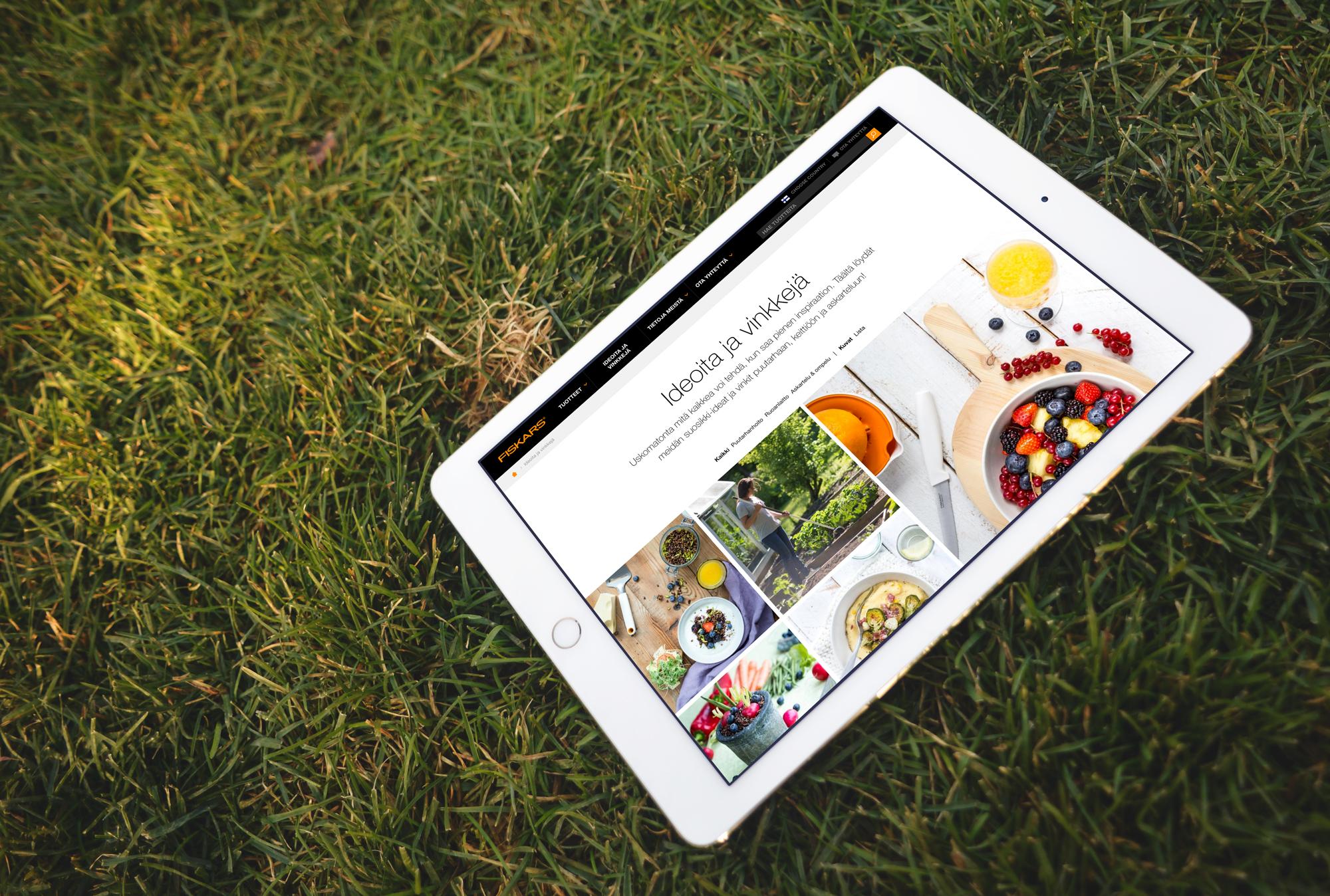 Fiskars home page on ipad