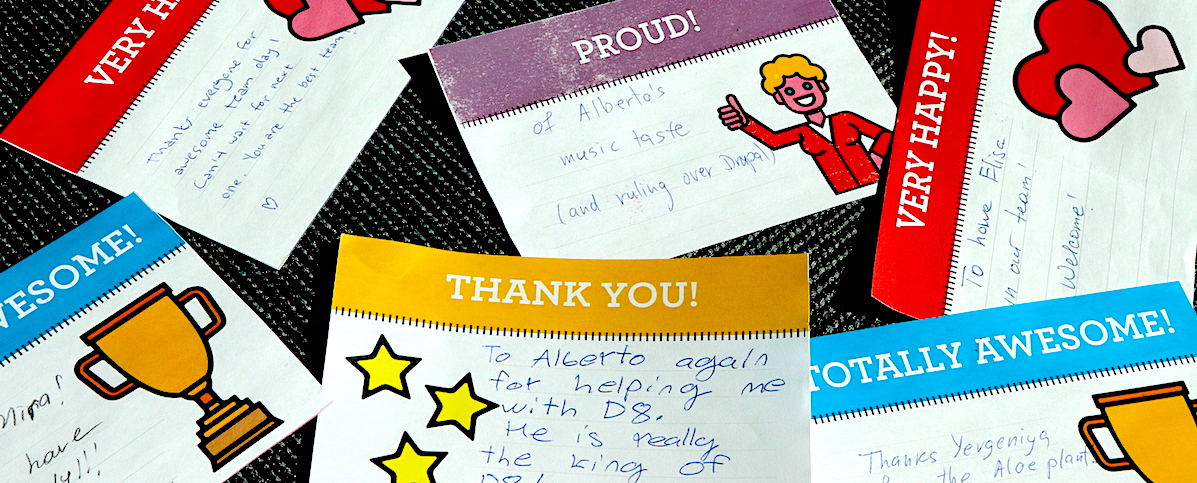 Hand-written kudos cards